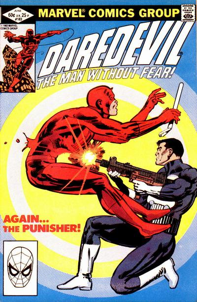 Cover to Daredevil #183 by Frank Miller|Daredevil vs the Punisher|Daredevil|daredevilffwe